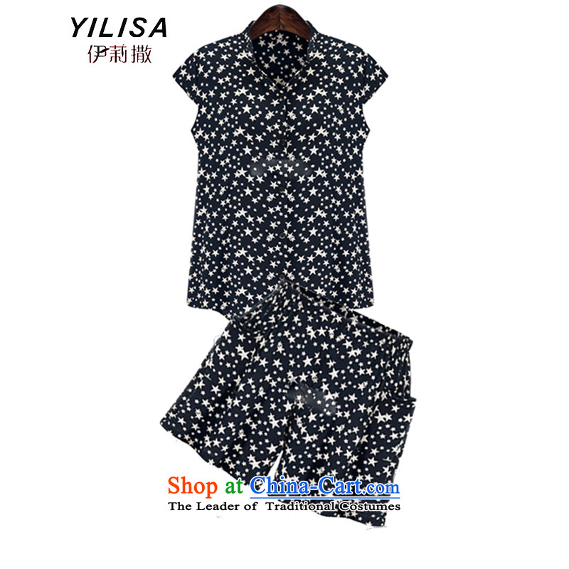 Large European and American women YILISA summer load new wave point saika t-shirt thick mm loose video thin star stylish shirt shorts kit K212 PETOKRAKA�L Kit