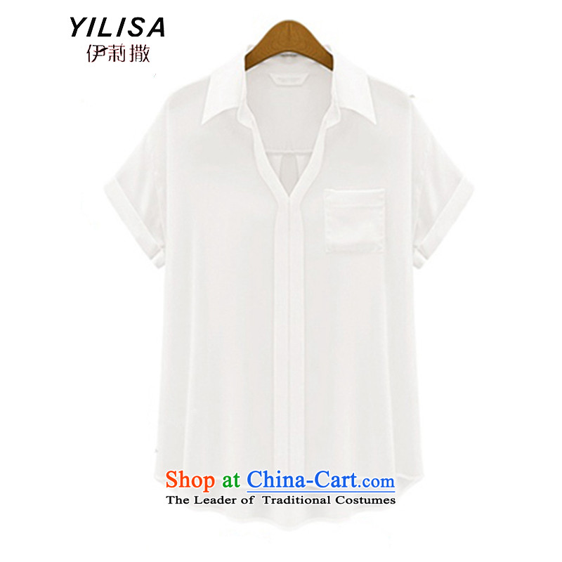 Europe and the extra-large female YILISA2015 replacing 200 catties pure color sunscreen on thick mm summer Korean clothes video thin chiffon shirt K851 WhiteXXL