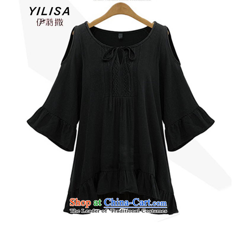 Large European and American women YILISA replace spring and summer in long t-shirt shirt thick mm smart casual video thin shoulders a solid color horn cuff dresses K852 Black燲L