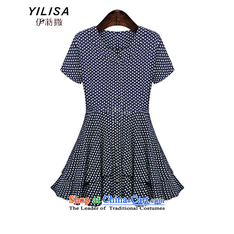 Europe and the increased number of female YILISA replacing summer leisure Sau San video thin thick mm saika bow tie short-sleeved stylish relaxd under the skirt K856 picture color XXL