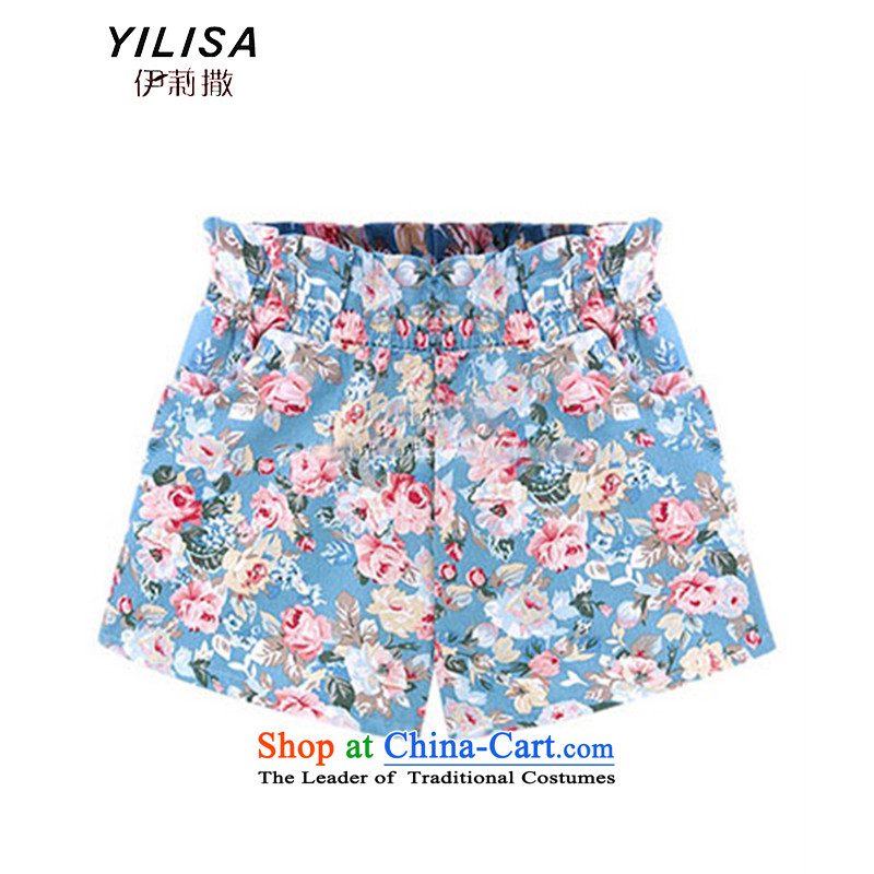 The new king code YILISA Female dress shorts thick mm summer short two-thirds of the stamp cutoffs 200 catties leisure xlarge elastic short pants K869 SKYBLUE燲L