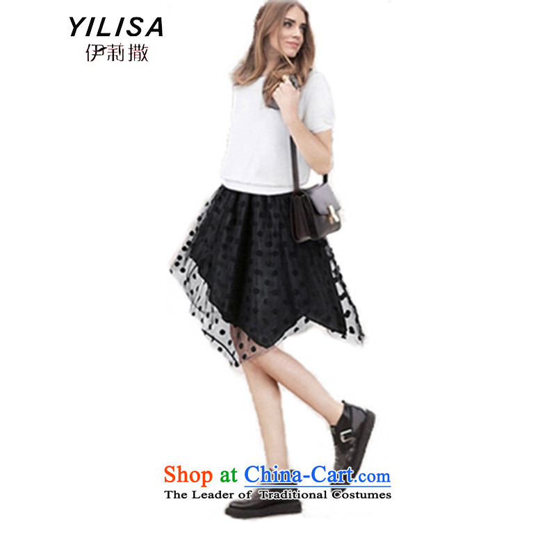 Large European and American women YILISA2015 summer load new gauze chiffon thick mm Color Plane Wave point leave two successive dresses K875 spell leave two garment聽5XL