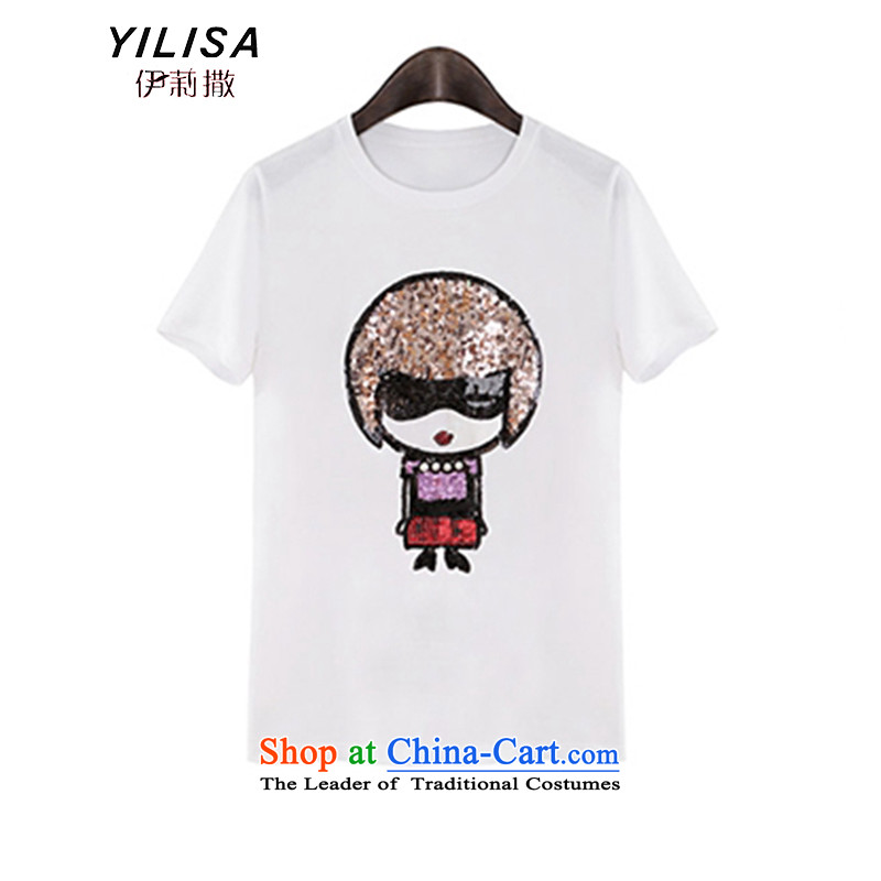 The new maximum code YILISA2015 blouses thick slice on Pearl nail sister dolls and cartoon stamp short-sleeved T-shirt, forming the Netherlands K880 female White燲XL