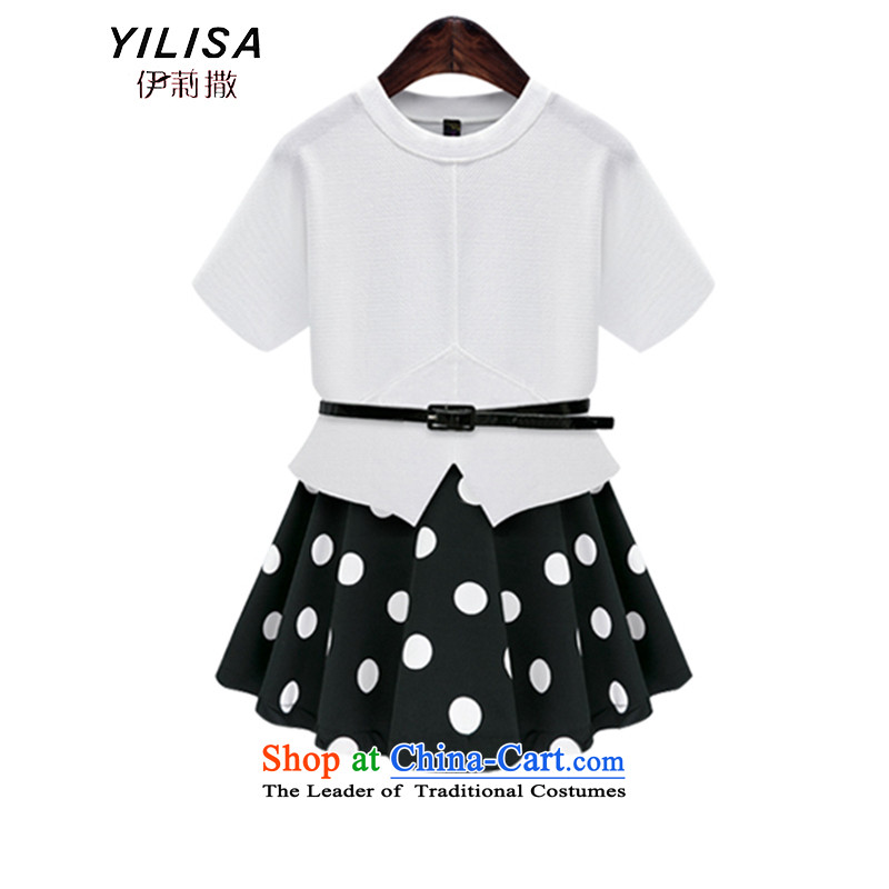 Europe and the Fat MM maximum YILISA Code women's summer new elastic waist video 200 catties thin waves point short skirt short-sleeved T-shirt solid color kit K888 two white sash to�L