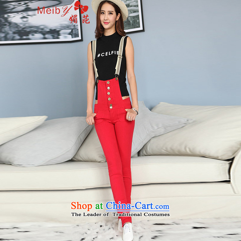 Large meiby female wild red female jeans pants pencil low-rise jumpsuits trousers jumpsuits Strap-trousers�1.2爈arge red燬70 cm wear 25-26