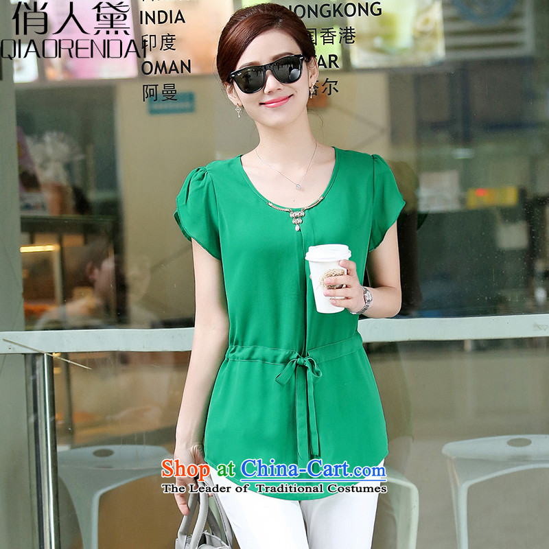 For the people燽y 2015 a new summer of Doi Korean female xl loose short-sleeved thick MM round-neck collar chiffon shirt female green�L