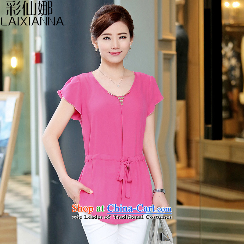 Also the?2015 Summer sin new large Korean leisure waist belt forming the externally accessible chiffon shirt girl in red?XL