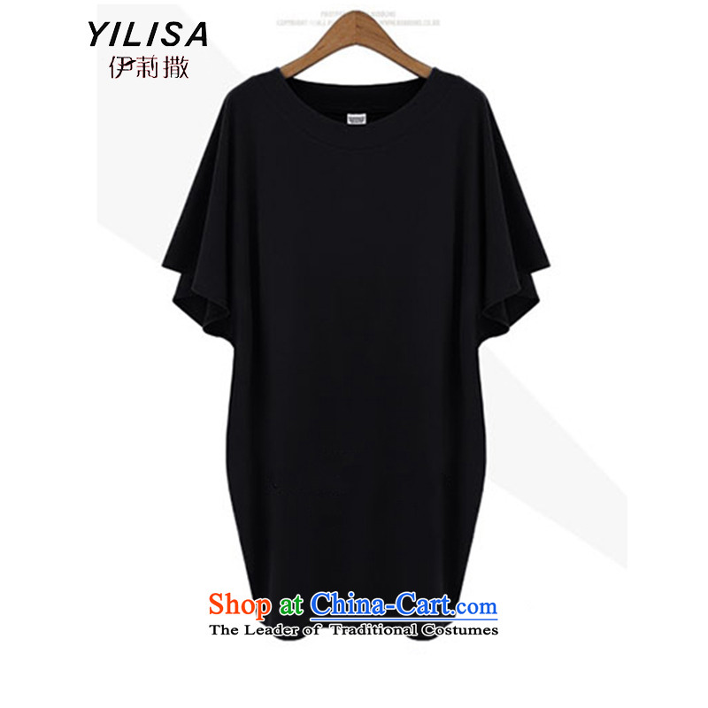 2015 Summer King YILISA new new product for summer large Western women thick MM loose to intensify the T-shirt 200 catties Black燲L