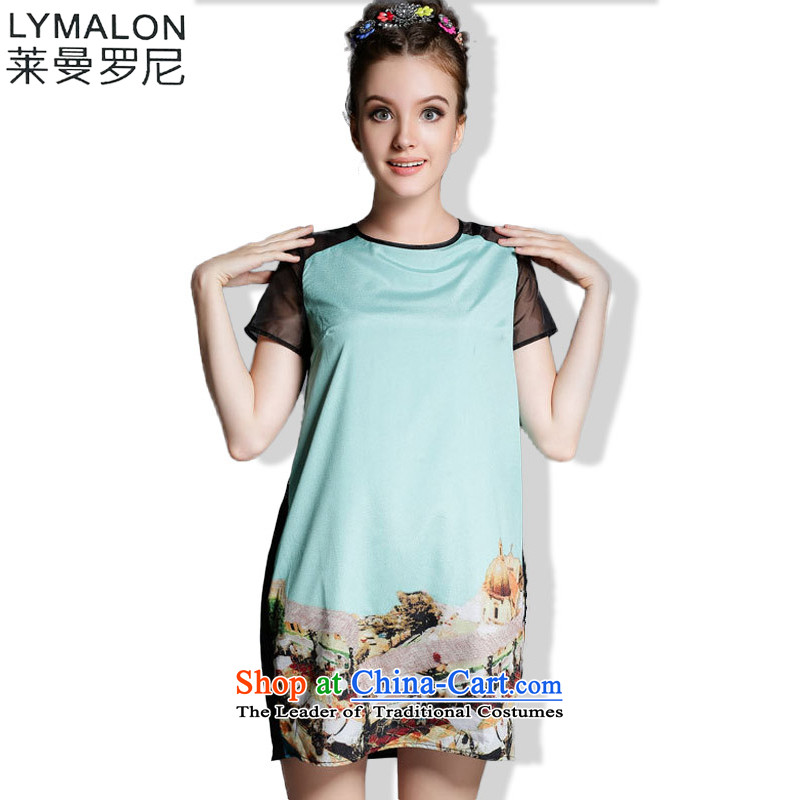 The lymalon lehmann thick, Hin thin 2015 Summer new ultra large stylish women's temperament Sau San short-sleeved dresses 1900 picture color?4XL