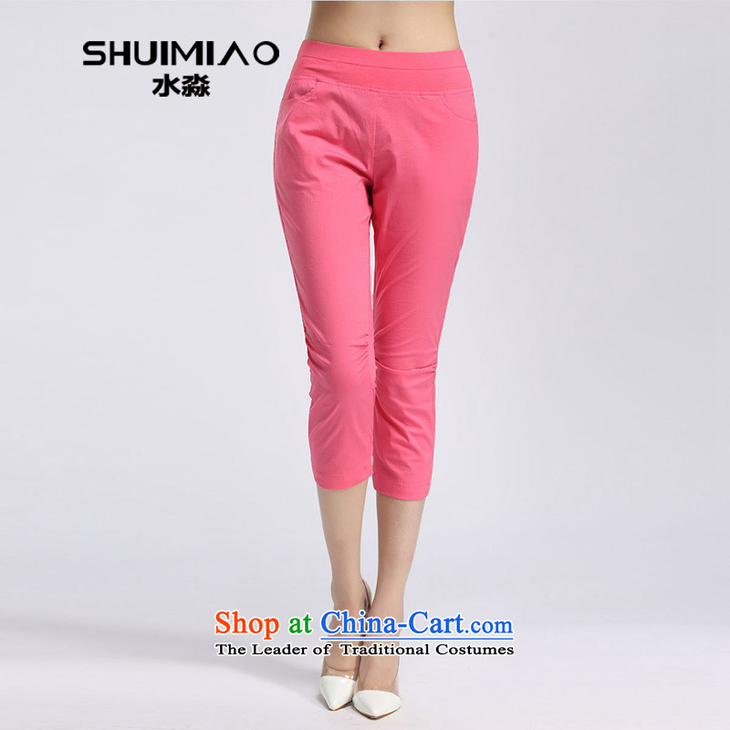 In the summer of 2015, the representative of the water inside the new mid-high elastic waist high large leisure Capri pants S15XL5146 female watermelon RED?M