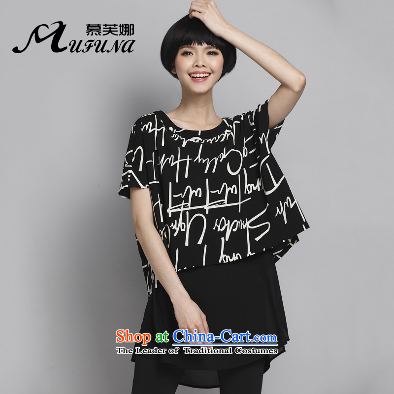 Improving access of summer Korean new people to thick xl female thick mm stylish shirt loose stamp leave letters two T-shirts聽1358聽Black Large XXL around 922.747 145