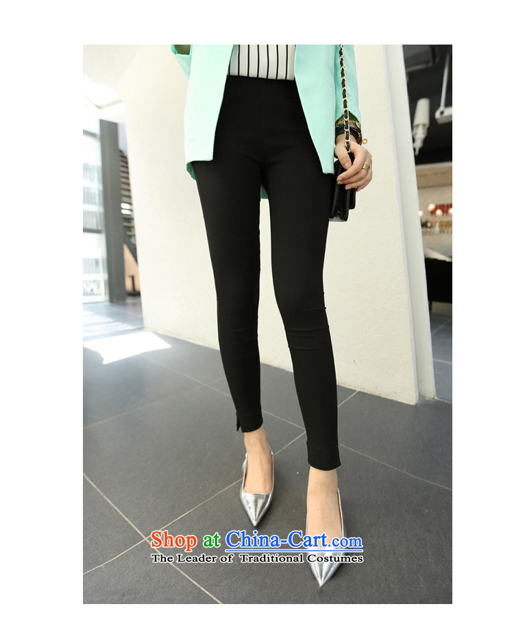 Flower to Isabelle 2015 Korean New MM thick large high elastic waist video skinny legs pencil Trousers tight trousers D1768 leisure 9 black XXL(135-155) picture, prices, brand platters! The elections are supplied in the national character of distribution, so action, buy now enjoy more preferential! As soon as possible.
