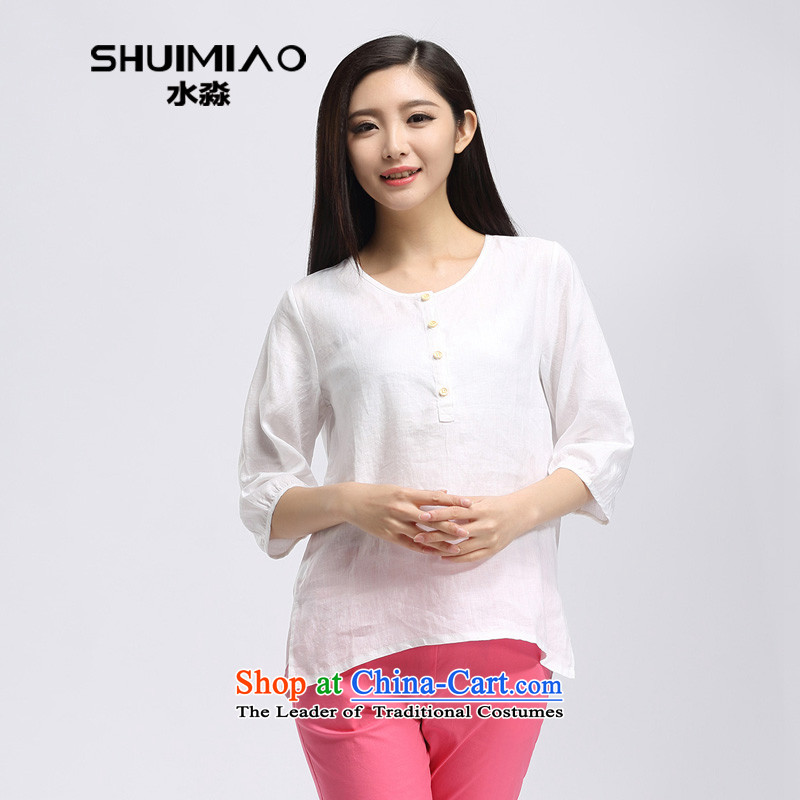 The representative of the water code version of large Korean women 2015 summer in New mm thick cotton linen long-sleeved T-shirt S15XK4503 in White燲XL