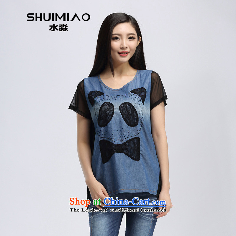By the summer of 2015, the water female new products in Korean xl long lace stitching short-sleeved T-shirt S15XK4901 possession,燲XL