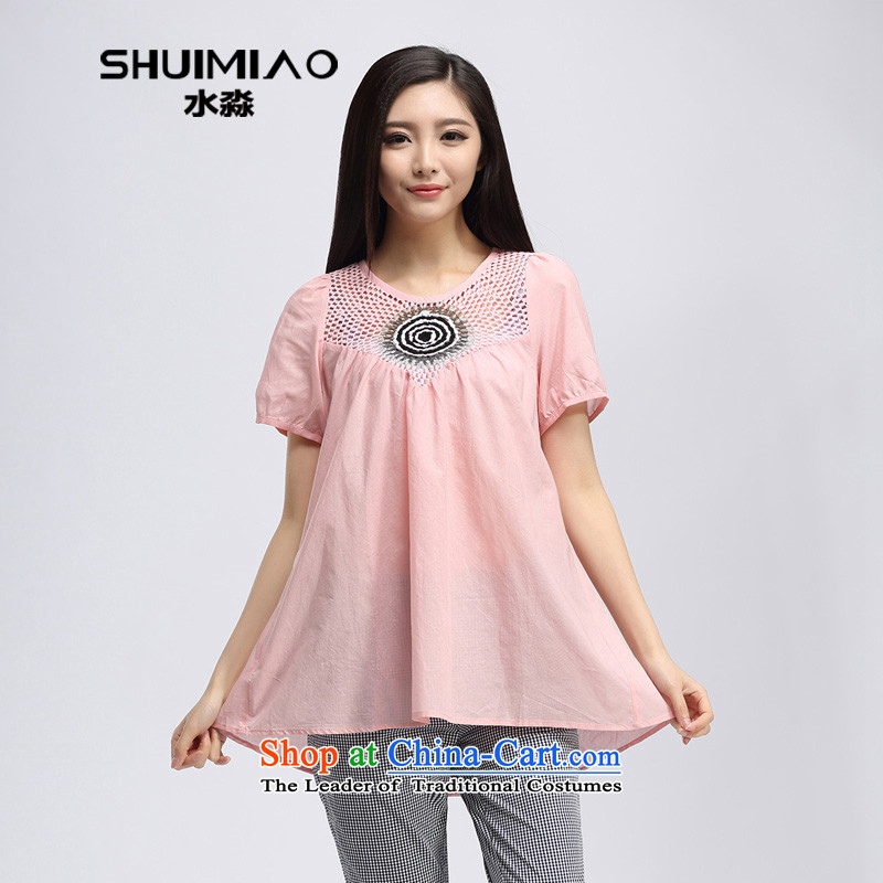 By the summer of 2015, the water of new products in the Korean thick mm long xl loose short-sleeved T-shirt with light pink S15XK4385 female L