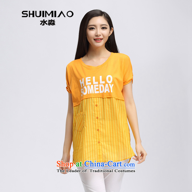 In the summer of 2015 by water new products in mm thick long loose xl short-sleeved T-shirt female S15XK4935 orange燣