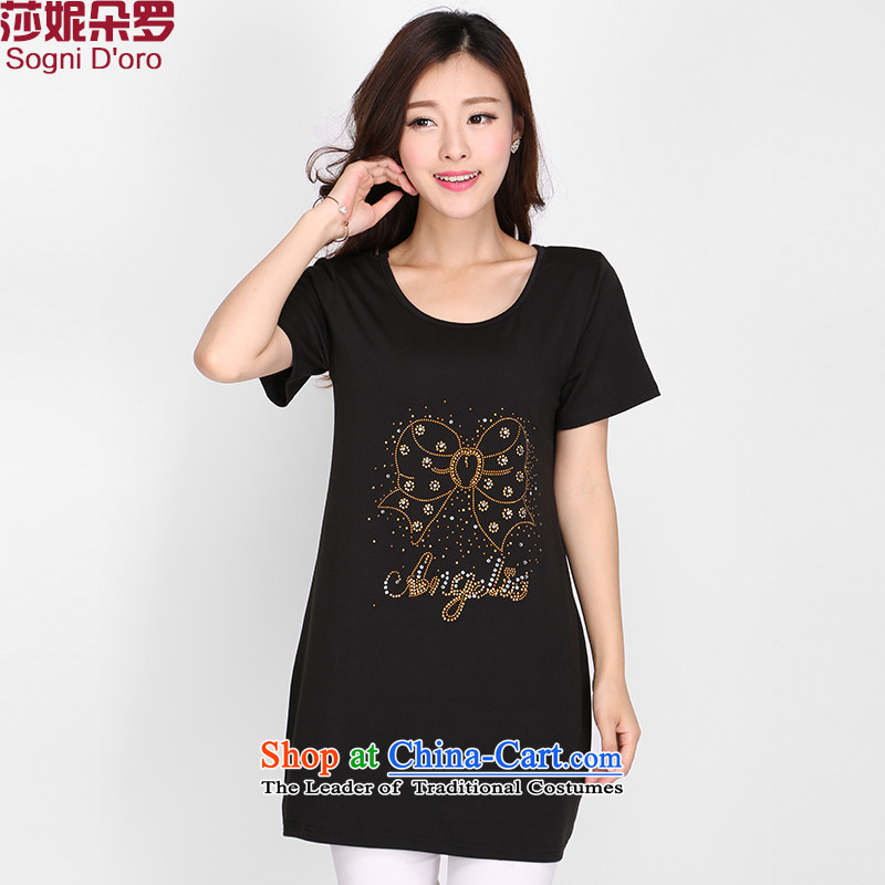 Luo Shani flower code T-shirts 200 catties to intensify the thick sister summer video thin short-sleeved T-shirt 2103 mm thick black 2XL
