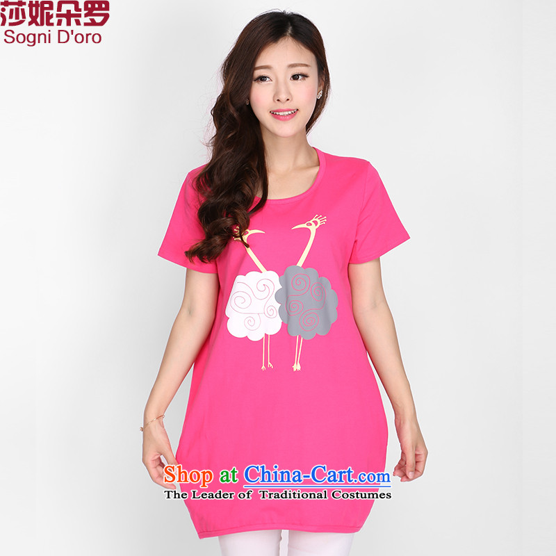 Luo Shani Flower Code women's summer short-sleeved?T-shirt female loose Thick pink shirt stamp sister 2104?5XL