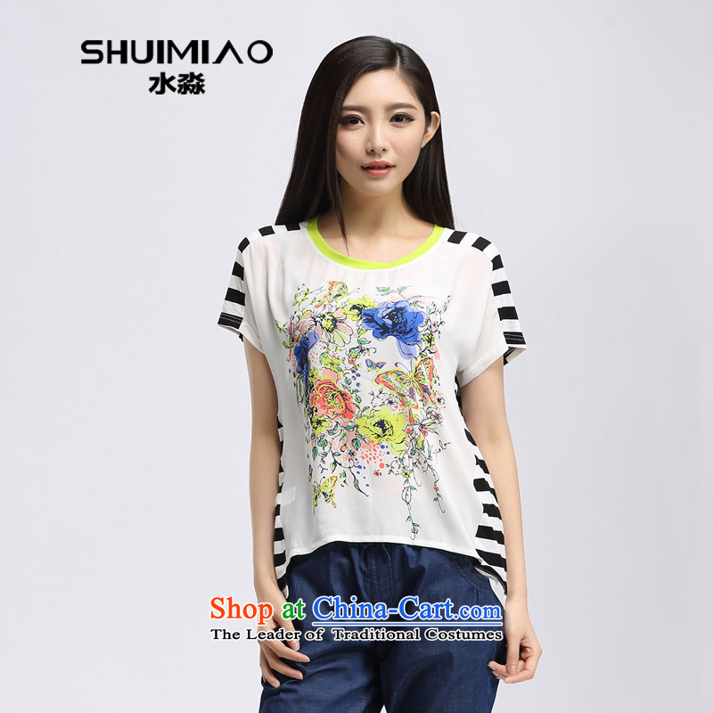 By 2015 Summer water new Korean version stamp in the Streaks mm thick long large short-sleeved T-shirt S15XK4856 female WhiteXL