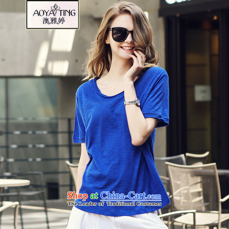 O Ya-ting�15 Summer new to increase women's code thick mm video thin short-sleeved T-shirt Girl Who Howled in cotton shirt blue燬爎ecommended that you 70-90 catty