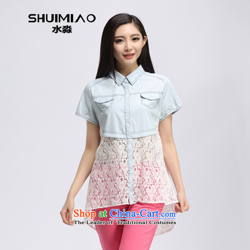 The representative of the water in the summer of 2015, replacing the new Korean version of shirt thick mm xl loose S15XC4813 shirts, jeans燲L