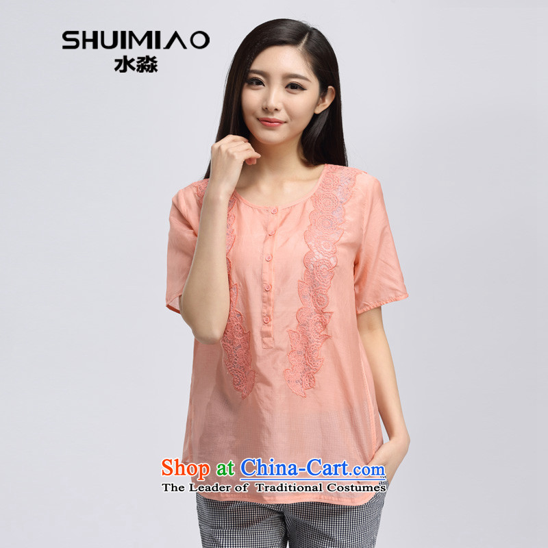 The representative of the water code version of large Korean women 2015 Summer new 200 catties thick mm loose short-sleeved T-shirt S15XK5024 light orange?XL