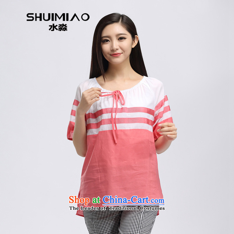 By 2015 Summer water new Korean thick sister larger loose video thin, short-sleeved T-shirt S15XK5002 watermelon red?XL