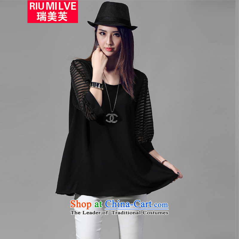 Rui Mei to� 2015 to increase the number of women in the Korean version of the new load autumn_ thick mm video thin gauze stitching in Loose Cuff T shirt shirt燲XXXL 5013 female black