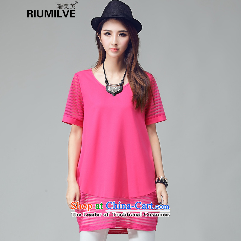 Rui Mei to increase women's code thick mm thin 2015 Autumn video new Korean gauze stitching light hovering over-short-sleeved dresses W2039 red燲XL