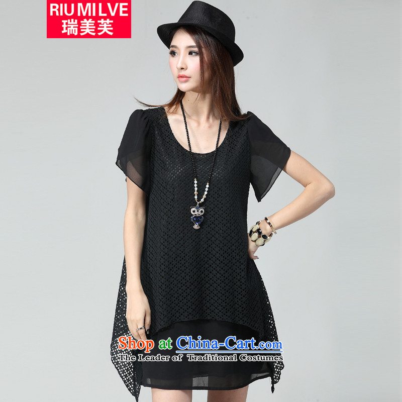 Rui Mei to larger female thick mm thin Summer 2015 Sau San video new to intensify the engraving grid chiffon short-sleeved dresses W2036燲XXL black
