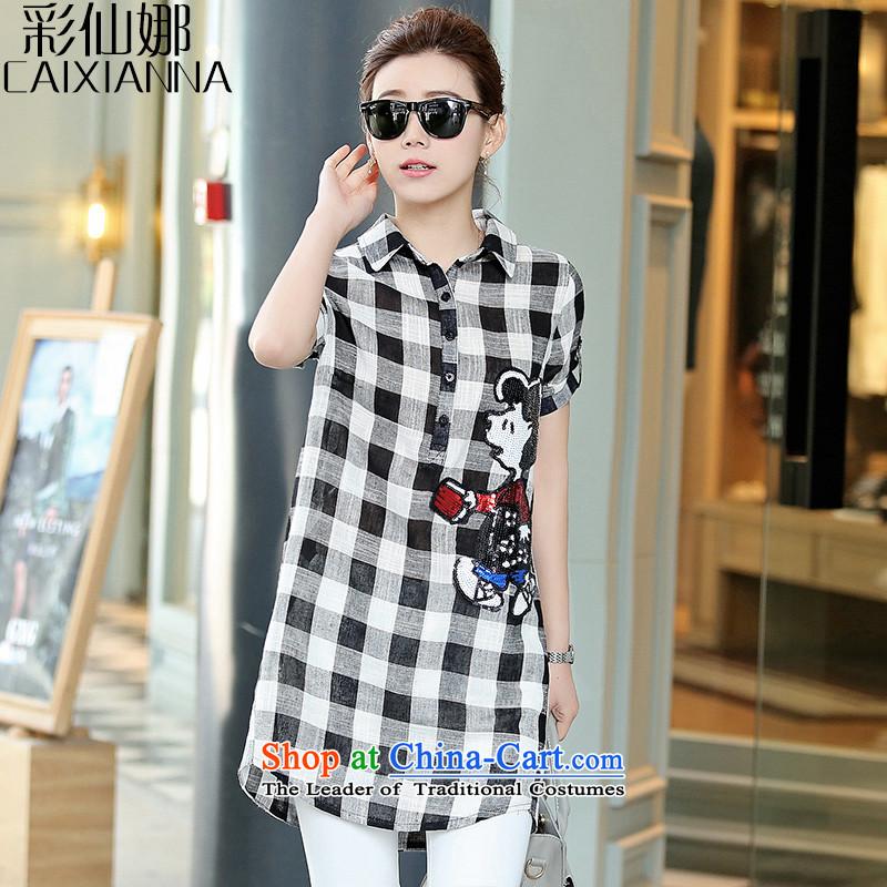 The 2015 summer of sin also new larger female Korean Sau San graffiti cartoon black and white cotton linen checkered shirt female燤