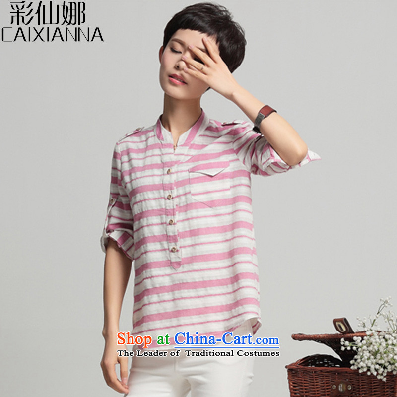 Also the�15 Summer sin new Korean version of large code loose video thin thick mm female latticed shirt red and white of the female�L