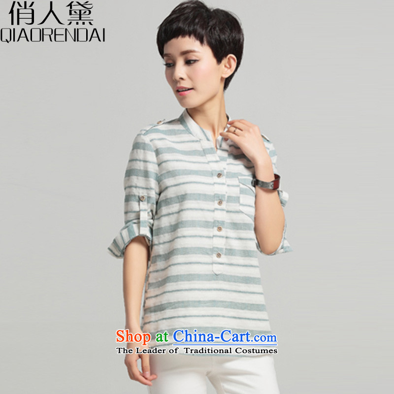 For the Korean People Doi larger women 2015 Summer new liberal video thin shirt female short-sleeved T-shirt and green tartan leisure small white strip�L
