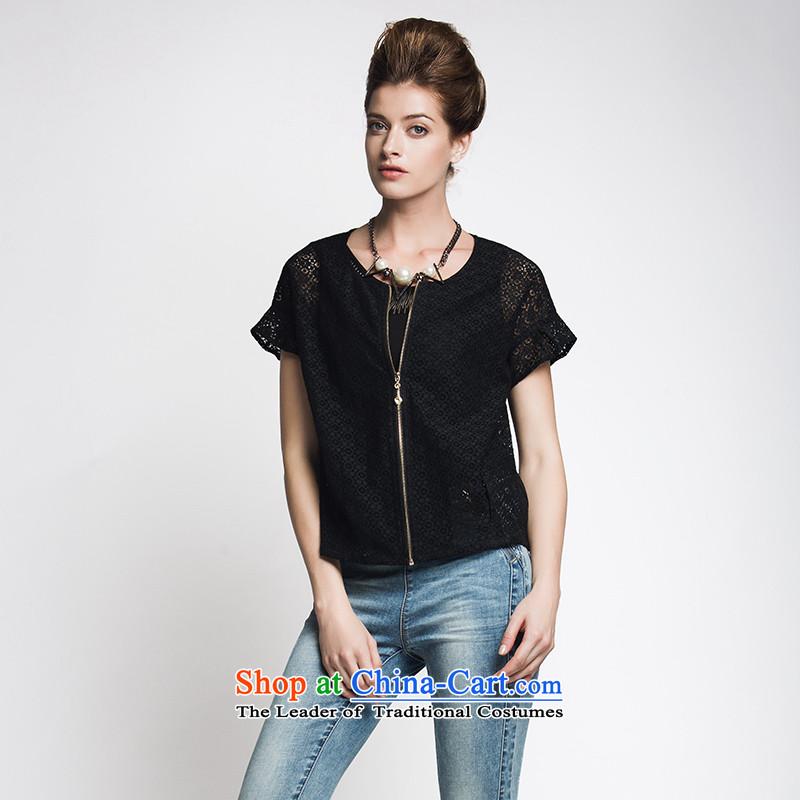 The former Yugoslavia Migdal Code women 2015 Summer new stylish mm thick cardigan niba cuff jacket952045481 femaleblack4XL