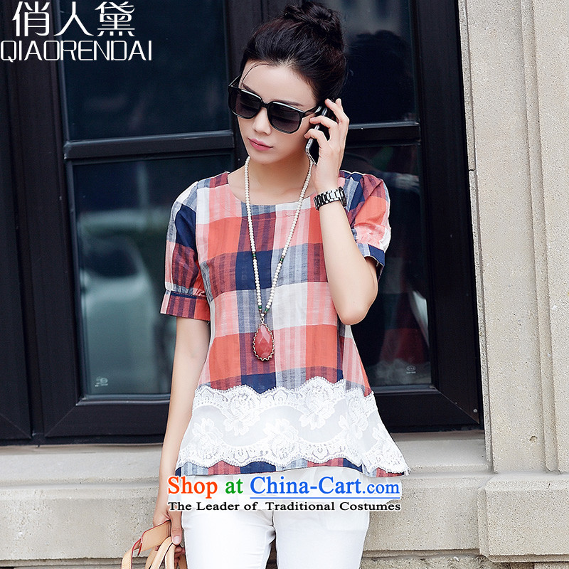 For people to increase the number of Diane women in long cotton linen t shirt female thick sister short-sleeved T-shirt thin graphics small red shirt燲L