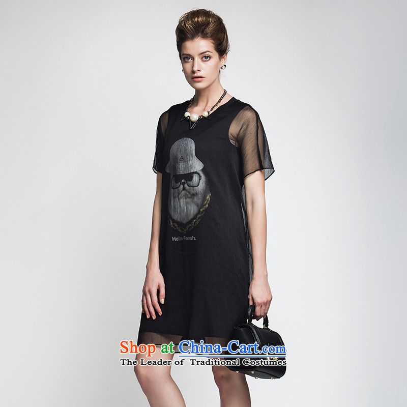 The former Yugoslavia Migdal Code women 2015 Summer new stylish mm thick owl. long skirt�2104171牋6XL black