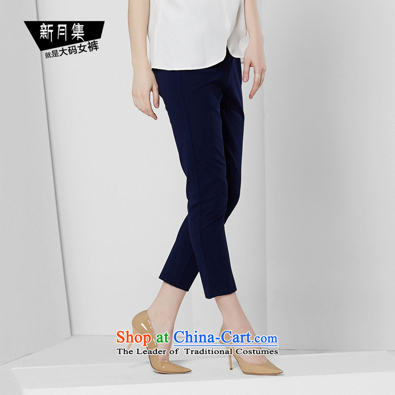 Crescent set larger women's Summer 2015 new products thick MM larger casual pants, ere thin thin graphics trousers Waist Trousers score of 9 high-Blue34