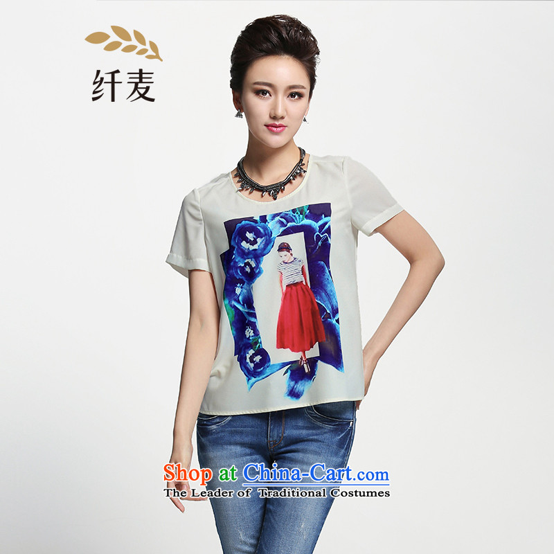 The former Yugoslavia Migdal Code women 2015 Summer new stylish mm thick hand-painted personalized floral T-shirt�2362362燱hite燲L