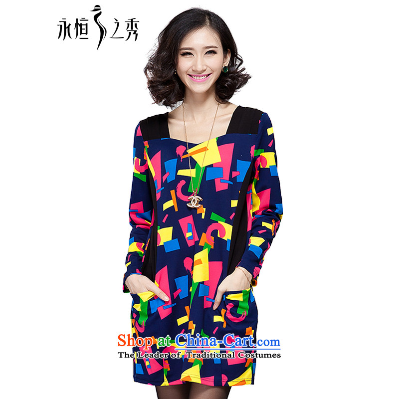 The Eternal Yuexiu Code women's dresses thick sister 2015 Autumn replacing the new graphics thin Korean people thick Version Stamp to color xl dresses map color�L