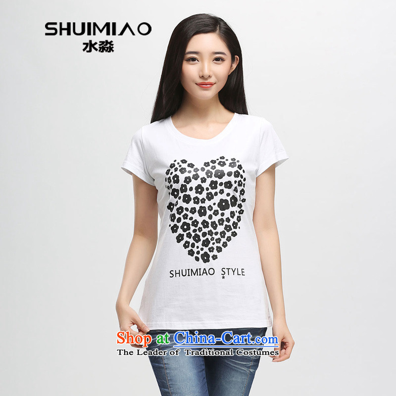 The representative of the water in the summer of 2015 Women's new Korean thick mm pure cotton stamp large short-sleeved T-shirt S15XB4796 female white L
