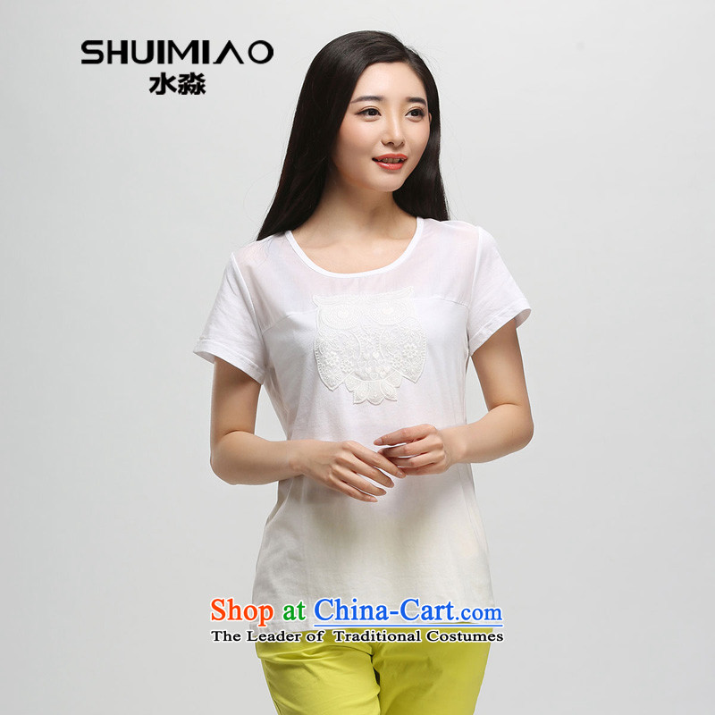The representative of the water in the summer of 2015 Women's new Korean thick mm xl pure cotton short-sleeved T-shirt S15XB4798 female whiteL