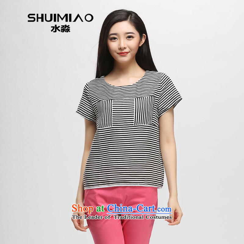 The representative of the water in the summer of 2015, replacing the new Korean version mm thick cotton linen back large streaks, short-sleeved T-shirt, black-and-WhiteXXL S15XK5011 female