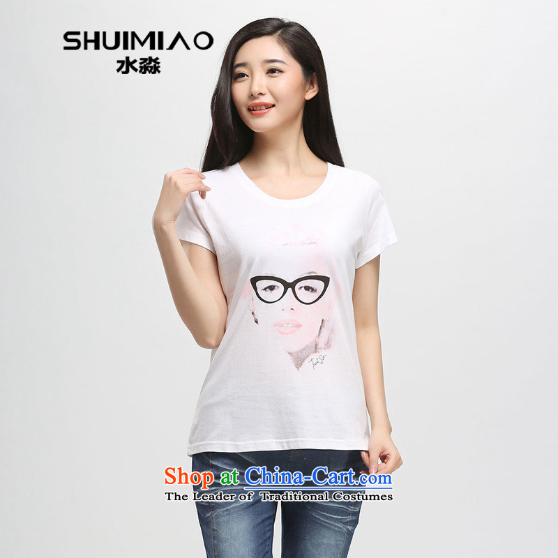 In the summer of 2015 by water new product version of large Korean women's code thick sister pure cotton short-sleeved T-shirt S15XB5034 female White燲L