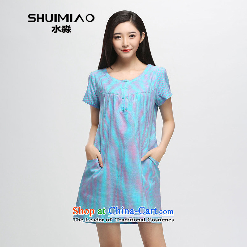 The representative of Korean women water load in the summer of 2015 mm thick xl pure color checked short-sleeved dresses S15XY5134 toner,L