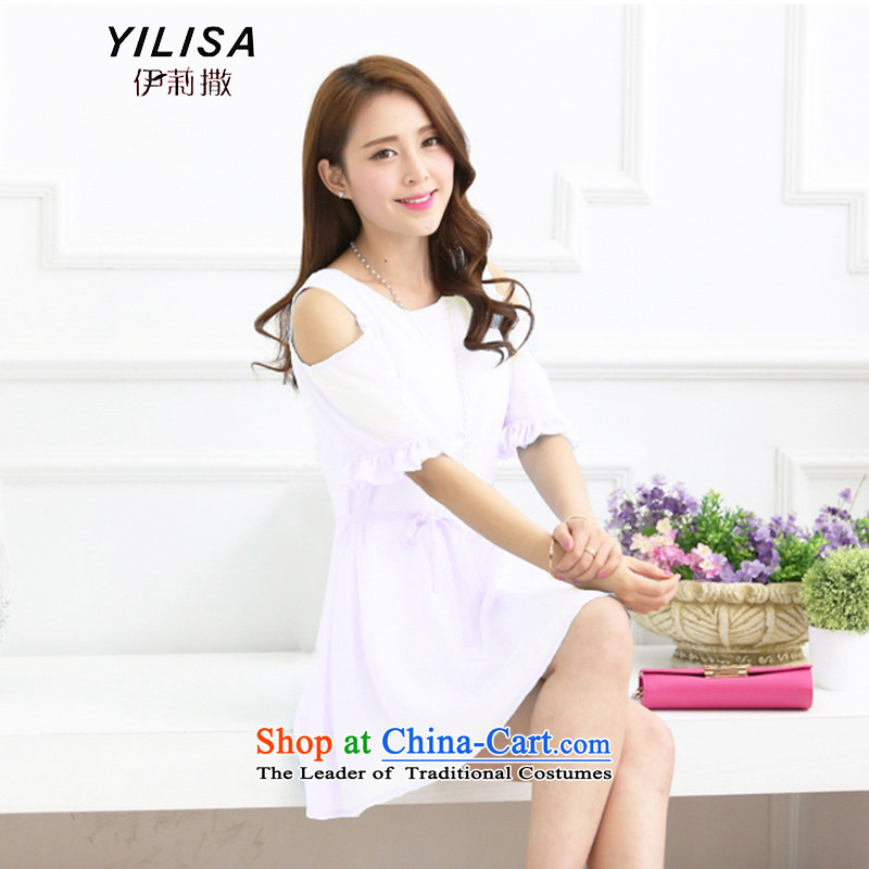 Elizabeth sub-large female bow tie dresses dm summer chubby, Hin thin, Sau San skirts thick sister summer leisure chiffon bare shoulders dresses L360 White 4XL suitable for 160-180 catty