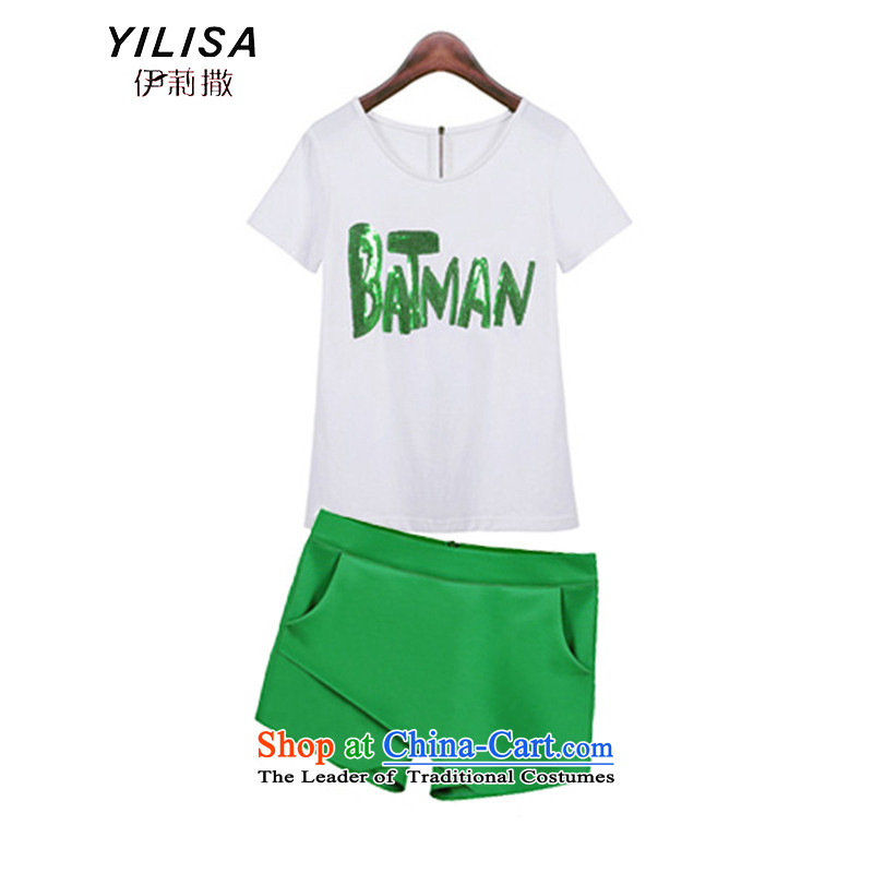 Elizabeth sub-XL Women's Summer On-chip t-shirt letters shorts thick mm sister summer new minimalist t-shirt + short skirts are two sets of load trousers Y9076 picture color4XL