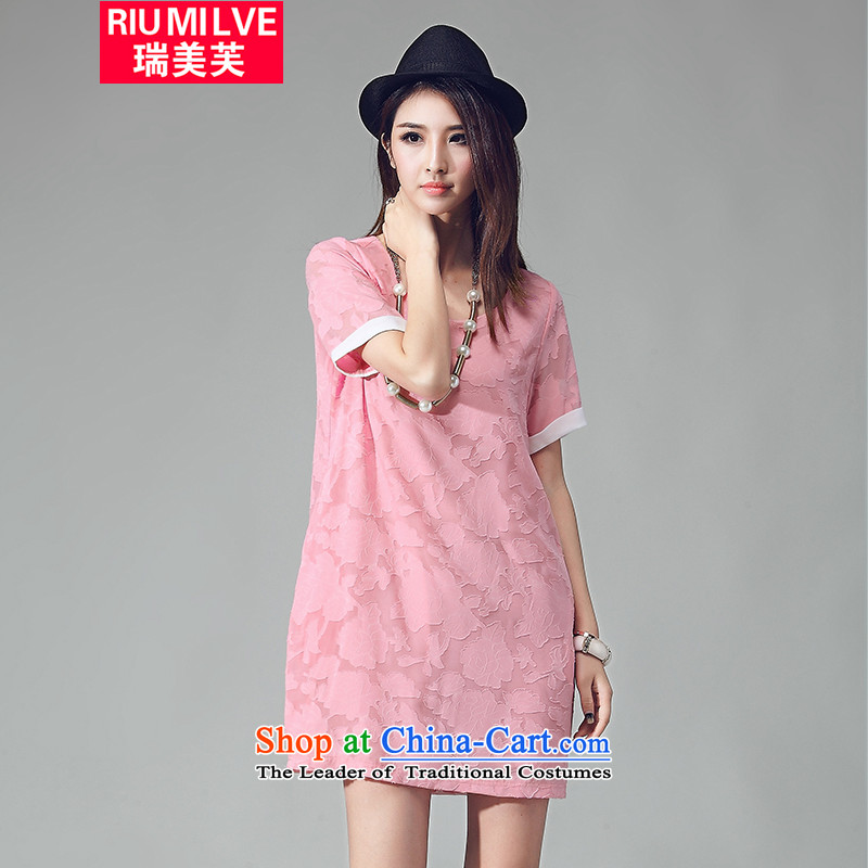Rui Mei to larger female thick mm Summer 2015 Sau San new to intensify the loose video thin elegant jacquard short-sleeved dresses W2031 pink燲XL