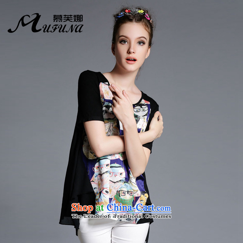 Improving access three big code women 2015 Summer new fat mm owl animals stamp shirt dovetail with short sleeve loose Sau San T-shirt 1868 Black Large code XL around 922.747 125