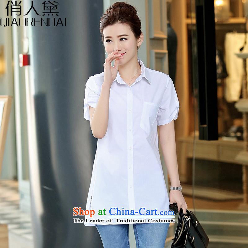 For thesummer of 2015 New Doi for women Korean female summer Sau San shirt short-sleeved white2XL