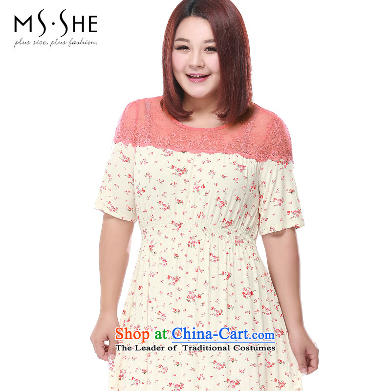 Msshe xl women 2015 new lace stitching elastic waist home dresses 2709 beige SAIKA�L